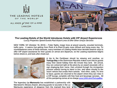 The Leading Hotels of the World Introduces Hotels with VIP Airport Experiences